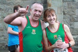 Val Glynn and Chris Gallagher celebrate at the finish