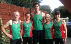 Tom, Colette, Roger, Mags, Pauline ready for cross country action