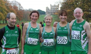 Five of our squad in the Irish team at Nottingham: l-r Tom Waldron, Colette Tuohy, Margaret Glavey, Pauline Moran, Tom Hunt