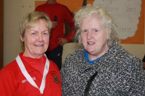 our Gold medal o65 winner Mags Glavey with Georgina Drumm Head of Competitions, Athletics Ireland
