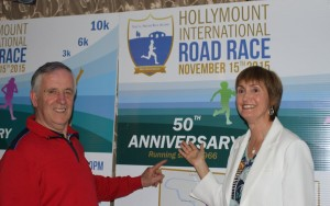 Hollymount Road Races founder Sean Reilly and Marie Healy, Secretary 50th Committee