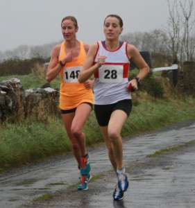 l-r Catherina McKiernan (Annalee AC) and Regina Casey (GCH) second in close contention on lap one