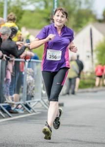 Lorraine at finish in Ballina Half Marathon