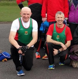 Brendan and John in genuflective pose before the race