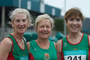 Mayo AC National Masters Outdoors medal winners Ann, Mags and Pauline (photo - thanks to Lindie Naughton)