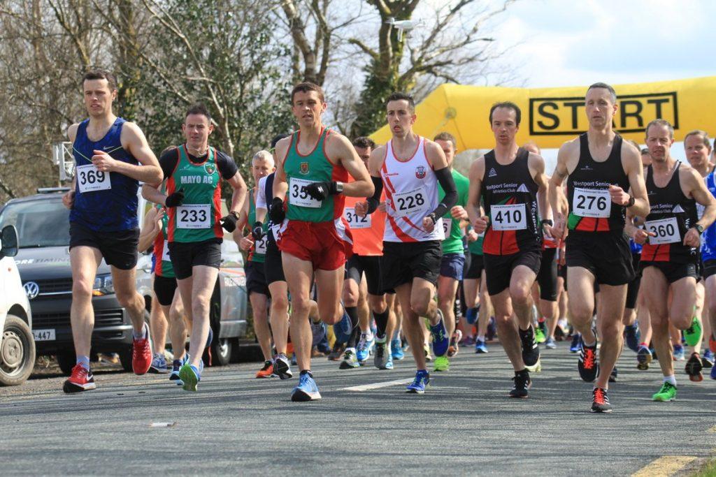 at the start Kilmovee 10k :Race winner Ray Hynes (369) John Byrne (357) third, Paddy O'Toole (276) second