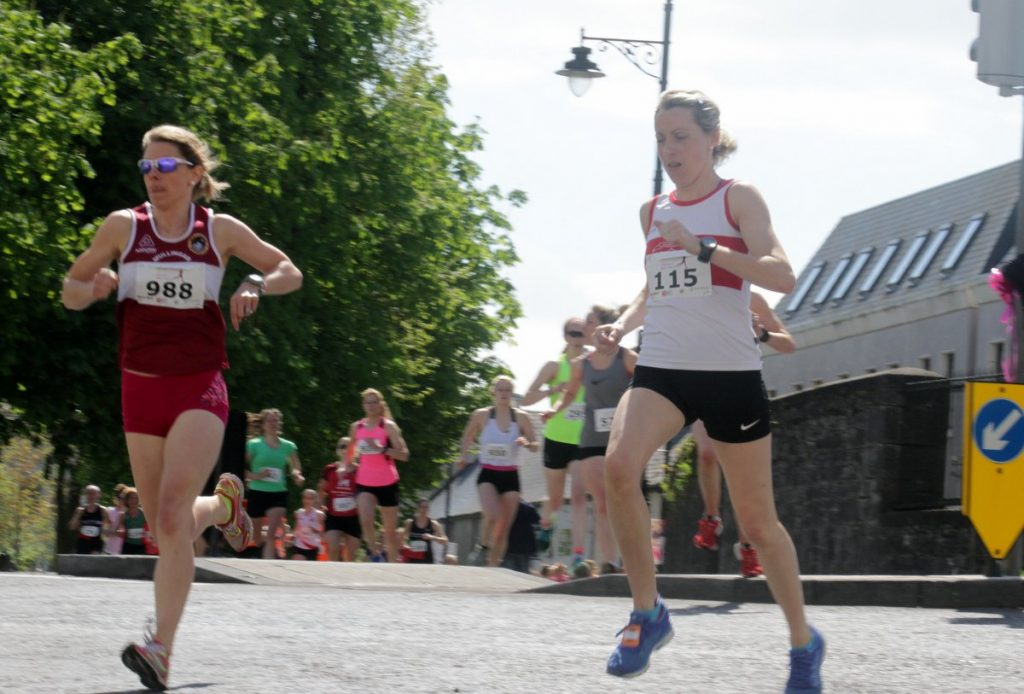 r-l: Winner Regina Casey (GCH)  with second placed Sinead Whitelaw (Mullingar Harriers) head off from the Mall