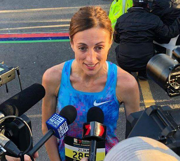 Sinéad Diver interviewed after her world record breaking run in Sunshine State