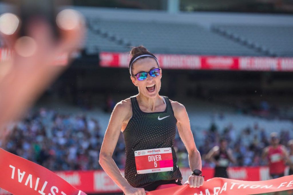Sinéad Diver wins the Melbourne Marathon (photo Melbourne Marathon press)