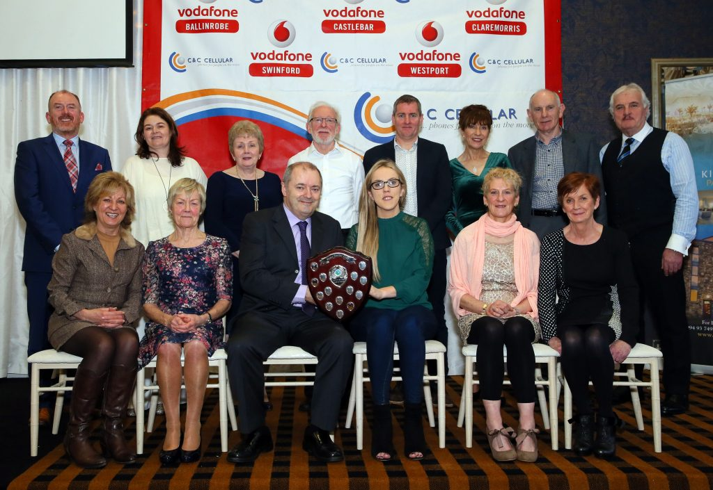 Pictured at the C & C Cellular/Vodafone Mayo Athletic Awards 2018 in the Park Hotel, Kiltimagh are:   Adult Club of the Year – Mayo A/C.  Brendan Chambers, Sponsor C& C Cellular/Vodafone, presenting the shield to Maria Kneafsey, Secretary Mayo A/C and Mayo A/C members.  Included in picture: Sean O'Connell, Chairperson, Elizabeth Murphy, Secretary and Marion Mattimoe, Competition Secretary and PRO Mayo Athletics Co. Board.  Michael Donnelly Photography.
